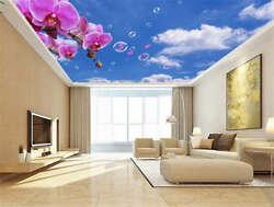 Fade Pink Odd Peony 3d Ceiling Mural Full Wall Photo Wallpaper Print Home Decor