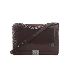 Chanel 2013 Bordeaux Patent Leather Large Reverso Boy Bag with SHW RRP $7100