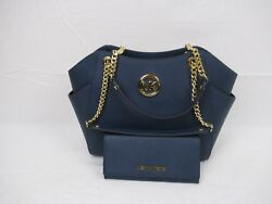 Michael Kors Navy Saffiano Leather Jet Set Travel Chain Shoulder Carryall Wallet