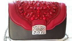 NWT Authentic Brighton Jeweled Leather Red & Pewter Women's Handbag Chain Strap