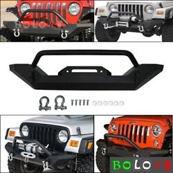 For 86-06 Jeep Wrangler TJ YJ Front Bumper Winch Plate D-Ring Rock Crawler Black