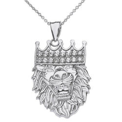 14k White Gold Studded Cz King Lion Head Double Sided Text Embossed Necklace