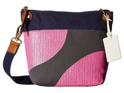 Fossil Keely Canvas And Leather Crossbody Women's Pink Dot Shoulder Bag NEW