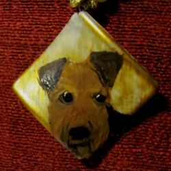 Welsh Terrier hand painted on wavy square pendantbeadnecklace