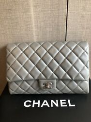 AUTHENTIC CHANEL FLAP BAG CLASSIC CLUTCH ON CHAIN BAG SILVER LAMBSKIN BRAND NEW