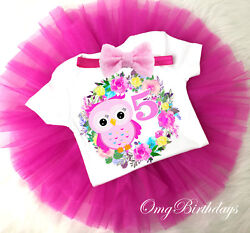 Pink Flowers Owl Floral Rainbow 5th Birthday Girl Tutu Outfit Set Shirt Tee