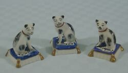 Lot 3 Antique Black & White  English Cat Figurines on Blue Pillow - Gold Anchor