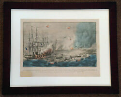 Vintage Currier And Ives Bombardment And Capture Of The Forts At Hatteras Inlet
