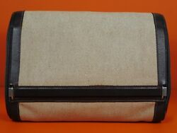 Hermes Canvas Leather Toiletry Bag Travel Cosmetics Duffle Carry On Case 7213