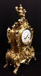 Beautiful French Empire Antique Gilt Solid Bronze Clock C.19th