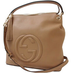 Auth GUCCI 2WAY Shoulder Bag SOHO Leather Beige GHW Handbag Tote Bag Women