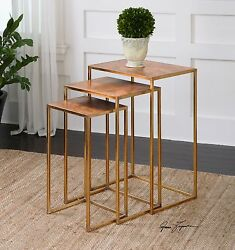 Three Copres Nesting End Tables Oxidized Copper Sheeting Tops Iron Base