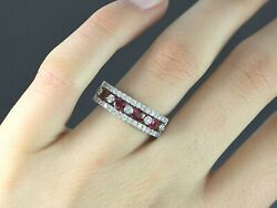 5500 14k White Gold Round Diamond Oval Pigeon Blood Red Ruby Ring Band Size 7