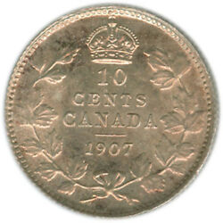 10 Cents Canada 1907, Graded Ms64 By Iccs