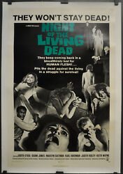NIGHT OF THE LIVING DEAD 1968 ORIGINAL 27X41 LINEN BACKED MOVIE POSTER ROMERO
