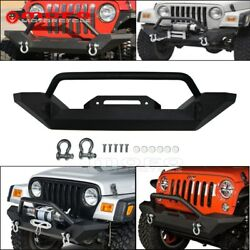 Rock Crawler Guards Front Bumper D-Rings Winch For Jeep Wrangler TJ YJ 87-06 05