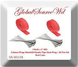 Red 2 Roll X 2 50ft Exhaust Wrap Manifold Header Pipe Heat Wrap + 20 Ties Kit