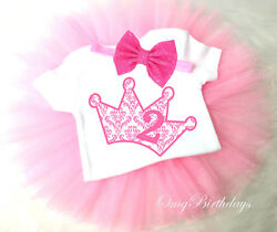 2nd Second Birthday Girl Tutu Outfit Set Shirt Pink Princess Damask Crown Queen
