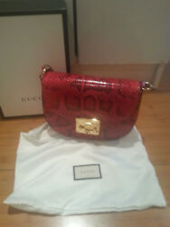 New Gucci Padlock Medium Snakeskin shoulder bag with tags and dust bag