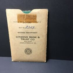 Vintage Savings Account Book Booklet Citizens Bank And Trust Co. Va 1959