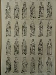 London Statues In St. Stephenand039s Hall And Central Hall Victorian Print 1854