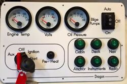 12vBoat Marine Instrument  switch panel White dial 2 Gauge six switch 4M harness