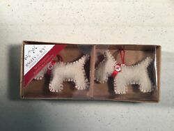 WESTIE WEST HIGHLAND TERRIER DOG  Fabric Wool CHRISTMAS Ornament Set2 NEW