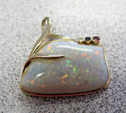 Beautiful Custom Made Fire Opal And Gemstone Pendant In 14k Gold Make Offer