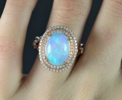 5500 Rose Gold Twist 14k Cabochon Oval Gia Fire Opal Diamond Cocktail Ring