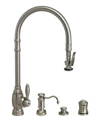 Waterstone 5500-4-sn Traditional Plp Extended Reach Pull Down Faucet - 4pc Suite