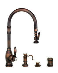 Waterstone 5600-4-tb Traditional Plp Pull Down Faucet - 4pc. Suite Tuscan Brass