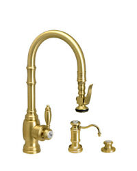Waterstone 5200-3-ab Traditional Plp Prep Size Pull Down Faucet - 3pc. Suite