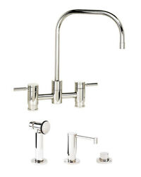 Waterstone 7825-3-wb Fulton Bridge Faucet - 3pc. Suite, Weathered Brass