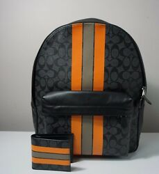 Coach Men's Charles Varsity Signature Backpack & Compact Id Wallet Set