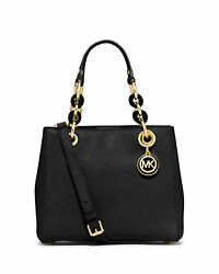 $298 Michael Kors Cynthia Leather Satchel Tote Bag Black Gold