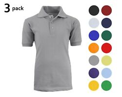 3 Pack School Uniform Polo For Boys Choose Shirts Color - Sizes 4-20 Many Colors