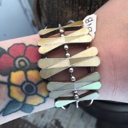 Huge Museum Quality Vintage Old Pawn Native American Mother Of Pearl Inlay Cuff