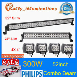 Philips 52inch 300w Led Light Bar Offroad+22'' 120w Driving Lamp+4x 4'' 18w Pods