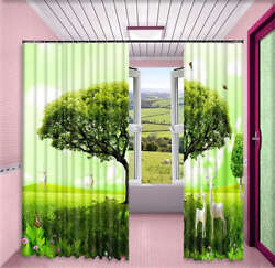 Deers Growing Trees 3d Curtain Blockout Photo Printing Curtains Drape Fabric