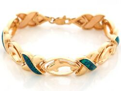 10k Or 14k Yellow Gold Simulated Speckled Blue Green Opal Dolphin Bracelet