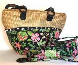 Vera Bradley Botanica Straw Tote Beach Bag with Belt ID Tag and Shoulder Purse