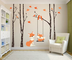 Nursery Wall Decals Baby And Mom Orange Fox 4 Birch Trees And Swing Forest Woodland
