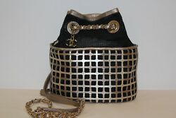 Chanel Black Leather and Mesh Fabric Gold Chain Hardware Bucket Shoulder Bag