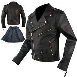 Bikers Leather Cruiser Motorcycle Jacket Apparel Cow Hide All Season A-pro