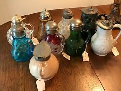 Antique Syrup Pitcher Collection.andnbsp Victorian Colored Heisey And Others