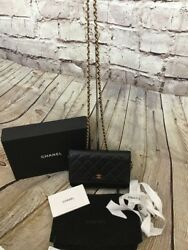 Chanel Quilted Black And Burgundy With Gold Hardware Wallet On Chain