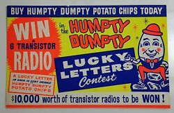 1960's? 1970's? HUMPTY DUMPTY POTATO CHIPS SIGN 10 Cent BAG WIN TRANSISTOR RADIO