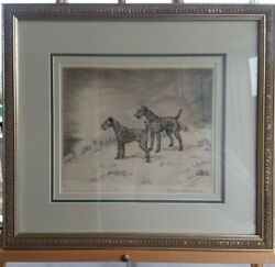 Marguerite Kirmse Irish Terrier Dog Etching Proof Pencil signed and titled 1925