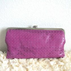 NWT HOBO International Lauren Leather Clutch Wallet Perforated Pansy