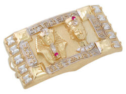 10k Or 14k Two-tone Gold Egyptian Pharaoh And Queen White Red Cz Two Finger Ring